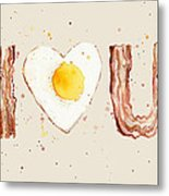 Bacon And Egg I Heart You Watercolor Metal Print