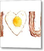 Bacon And Egg Love Metal Print