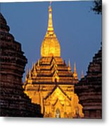 Bagan, Illuminated Temple At Dusk Metal Print