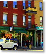 Bagels And Tea St Viateur Bakery And Davids Tea Room Montreal City Scenes Art Carole Spandau Metal Print