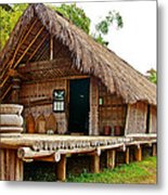 Bahnar Home With Extension As Family Grows At Museum Of Ethnology In Hanoi-vietnam  Metal Print