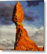 Balanced Rock At Sunset Digital Painting Metal Print