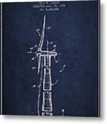 Balancing Of Wind Turbines Patent From 1992 - Navy Blue Metal Print