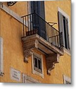 Balcony Piazza Della Madallena In Roma Metal Print