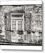 Balcony View In Black And White Metal Print