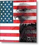 Bald Eagle American Flag Metal Print