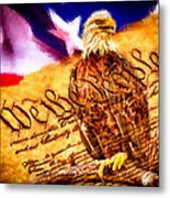 Bald Eagle With American Flag And Constitution Art Landscape Metal Print