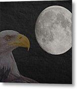 Bald Eagle With Full Moon - 3 Metal Print