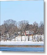 Bald Eagles In Tree In Grand Rapids Ohio Panorama Metal Print