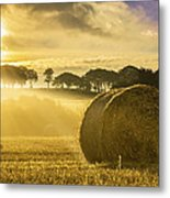 Bales In The Morning Mist Metal Print