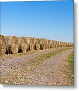 Bales Of Hay On An Old Farm Road Metal Print