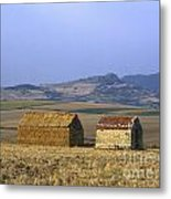 Bales Of Straw Stacked In The Shape Of A House Next To A Little Stone House. Limagne. Auvergne. Fran Metal Print by Bernard Jaubert