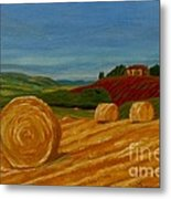 Field Of Golden Hay Metal Print