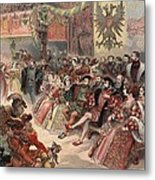 Ball At The Court, Illustration Metal Print