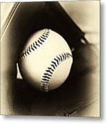 Ball In Glove Metal Print by John Rizzuto