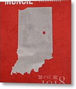 Ball State University Cardinals Muncie Indiana College Town State Map Poster Series No 017 Metal Print