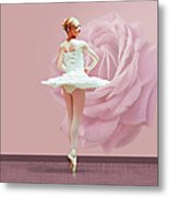 Ballerina In White With Pink Rose  Metal Print by Delores Knowles