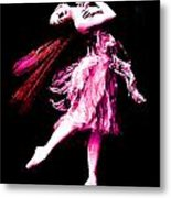 Ballerina Wings Pink Portrait Art Metal Print