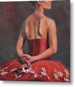 Ballerina With Mask Metal Print