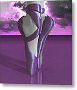 Ballet Toe Shoes Over Colorful Lavender Clouds Metal Print