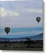 Balloons Above Serengeti. Metal Print