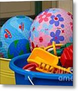 Balls And Toys In Buckets Metal Print