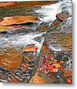Balsam River Rocks And Leaves Metal Print