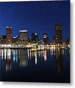 Baltimore Skyline At Dusk On The Inner Harbor Metal Print