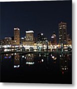 Baltimore Skyline At Night Metal Print