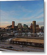 Baltimore Skyline At Sunset From Federal Hill Metal Print