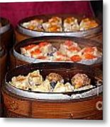 Bamboo Steamers With Dim Sum Dishes Metal Print