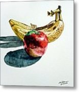 Bananas And An Apple Metal Print