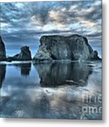 Bandon Beach Sunset Reflections Metal Print