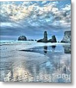 Bandon Sea Stack Reflections Metal Print