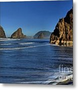 Bandon Sea Stacks In The Surf Metal Print by Adam Jewell
