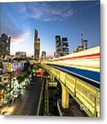 Bangkok Sky Train Rush Metal Print