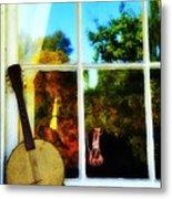 Banjo Mandolin In The Window Metal Print