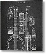 Banjo Patent Drawing From 1882 Dark Metal Print