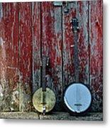 Banjos Against A Barn Door Metal Print