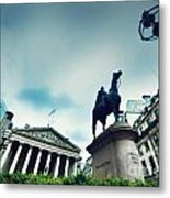 Bank Of England The Royal Exchange And The Wellington Statue Londonuk Metal Print