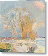 Banks Of The Seine And Vernon In Winter Metal Print by Albert Charles Lebourg