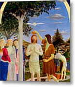 Baptism Of Christ - Oil On Canvas Metal Print