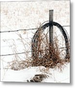 Barbed Wire Fence Post Metal Print
