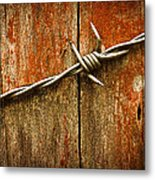 Barbed Wire On Wood Metal Print