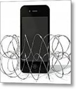 Barbed Wire Protected Smartphone Metal Print by Allan Swart