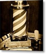 Barber - Barber Pole - Black And White Metal Print