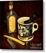 Barber - Shaving Mug And Toilet Water Metal Print