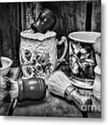Barber - Shaving Mugs And Brushes In Black And White Metal Print