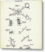 Barber Shears Patent 1927 Metal Print