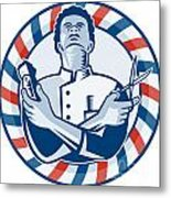 Barber With Pole Hair Clipper And Scissors Retro Metal Print